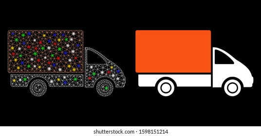 Bright mesh shipment car icon with glare effect. Abstract illuminated model of shipment car. Shiny wire carcass polygonal mesh shipment car icon. Vector abstraction on a black background.