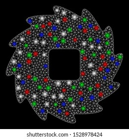 Bright mesh teeth ratchet wheel with glow effect. White wire frame triangular mesh in vector format on a black background. Abstract 2d mesh designed with triangles, round dots, colorful flash spots.