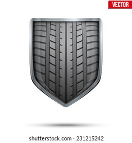 Bright metallic shield in the racing tire inside. Editable Vector Illustration isolated on white background.