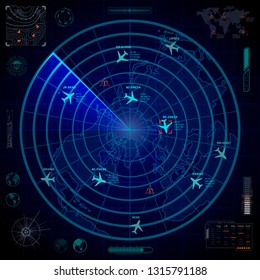 Bright military radar display with with planes traces and target signs on blue