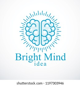 Bright Mind vector logo or icon with human anatomical brain. Thinking and brainstorming concept.