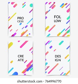 Bright minimalistic fashion lines folder cover collection. Abstract geometric line pattern background for brochure cover design. Trendy neon shapes poster layout template. Vector illustration