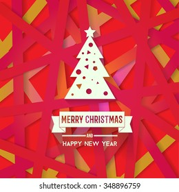 Bright modern Christmas greeting card with happy New year wish. Colorful background with red yellow pink color scheme for backgrounds, wallpapers, cd covers