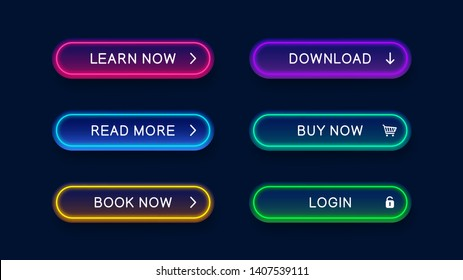 Bright modern neon abstract buttons for website. Vector multicolored neon buttons isolated on dark background. Ready elements for use in web design.