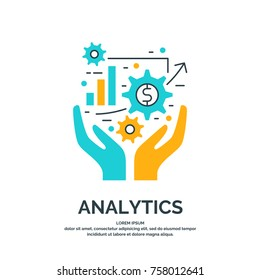 Bright modern vector illustration of Business analytics and statistics.