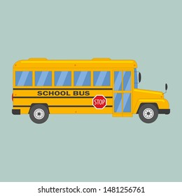 Bright, modern yellow school bus for children, pupils and students between house and school, educational institution. Flat vector cartoon illustration