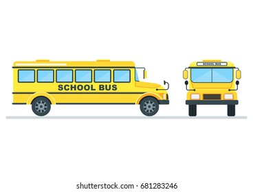 Bright, modern yellow school bus for children, pupils and students between house and school, educational institution. Flat vector cartoon illustration. Objects isolated on a white background.