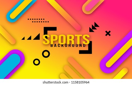 Bright modernist dynamic geometric sports background poster for playing football basketball or croquet. Vector illustration