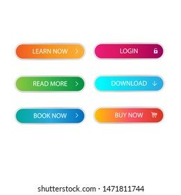 Bright monochrome web buttons of orange, blue, green, purple and bright blue color Vector buttons for web design, mobile devices, banners and more.
