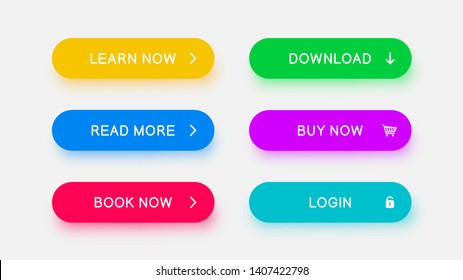 Bright monochrome web buttons of yellow, blue, red, green, purple and bright blue color with falling color shadow. Vector buttons for web design, mobile devices, banners and more.