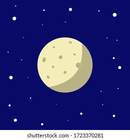 The bright moon against the blue sky, the moon is surrounded by stars.