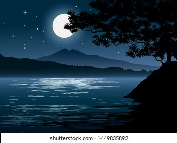 bright moonlight at river with the sky full of stars