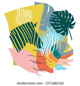 Bright, multi-color background with elements of tropical leaves, animal elements. Figure skin leopard, tiger, zebra. Modern abstract collage