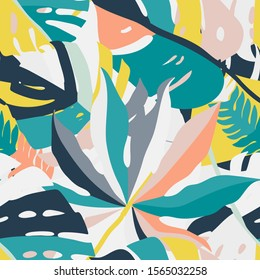 Bright, multi-color seamless pattern with elements of tropical leaves, animal elements. Figure skin leopard, tiger, zebra. Modern abstract collage.
