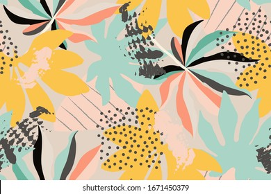 Bright, multi-color seamless pattern with elements of tropical leaves. Modern abstract collage.
