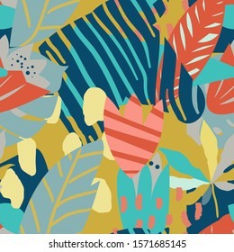 Bright, multi-color seamless patterns with elements of tropical leaves, animal elements. Figure skin leopard, tiger, zebra. Modern abstract collage