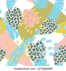 Bright, multi-color seamless patterns with elements of tropical leaves, animal elements. Figure skin leopard, tiger, zebra. Modern abstract collage.pop 90s