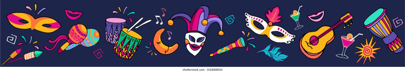Bright multicolor vector illustration. Set icons for Carnival decorate. Carnival and celebratory subjects, masks, musical instruments, fireworks, drinks, confetti.