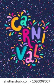 Bright multicolor vector illustration. Set icons for Carnival decorate. Includes handwritten text. Carnival and celebratory subjects, masks, musical instruments, fireworks, drinks, confetti.