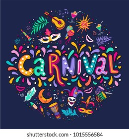 Bright multicolor vector illustration. Seth Carnival. Includes handwritten text. Carnival and celebratory subjects: masks, musical instruments, fireworks, drinks, confetti.