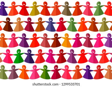 Bright multicolored cut out paper chain female figures on a white background. Women solidarity concept. Abstract background. Vector illustration