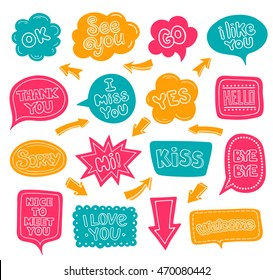 Bright multi-colored dialog clouds with words and phrases. Arrows. Cartoon, kids, school style. Love, welcome, hello, go, thank you, yes, ok, miss you, kiss, nice, sorry.