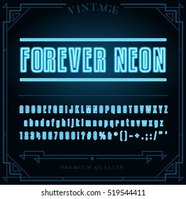 Bright Neon Alphabet Letters, Numbers and Symbols Sign in Vector. Night Show.