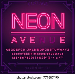 Bright Neon Alphabet Letters, Numbers and Symbols Sign in Vector. Night Show. Night Club.