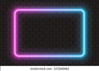 Bright neon frame for banner or sign isolated on a dark brick wall. Pink, purple and blue light.