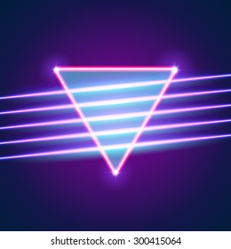 Bright neon lines background with 80s style and triangle