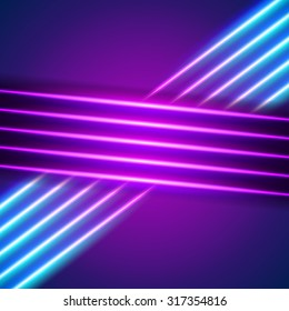 Bright neon lines background with 80s style.