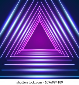Bright neon lines background with triangle and 80s style laser rays