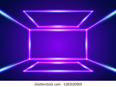 Bright neon lines interior background with ultraviolet 80s style laser rays
