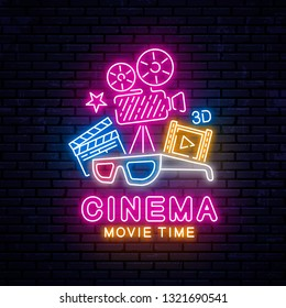Bright neon sign for the cinema. Vector Illustration