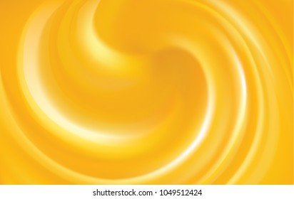Bright ocher whirl whip cheese meal fond and space for text. Curl motion melt surface vibrant hot amber color. Circle eddy mix movement of sweet apricot, lemon fruit dessert syrup caramel illustration