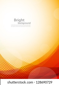 Bright orange background. Abstract colorful illustration with circles