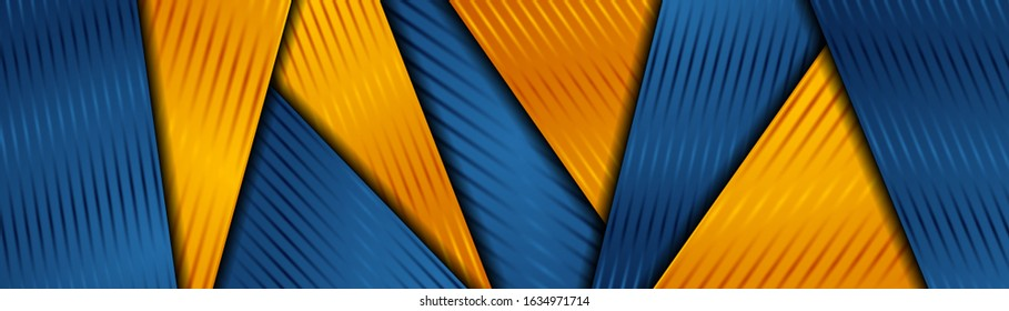 Bright orange and blue abstract corporate striped background. Vector banner design