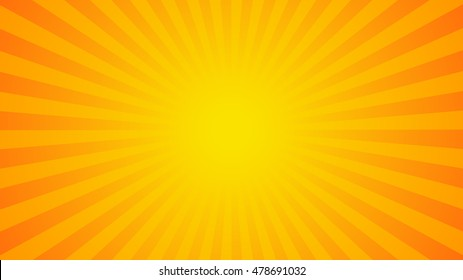 Bright orange rays background. Comics, pop art style. Vector, eps 10.
