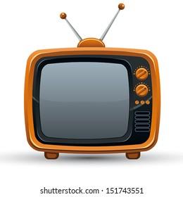 Bright orange retro TV set, vector illustration.