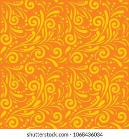 Bright orange seamless ornamental pattern for design. Vector