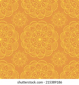 bright orange seamless pattern with traditional indian elements