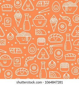 Bright orange vector seamless pattern with japanese food such as sushi, rolls and shrimps. Line icons on bold background.