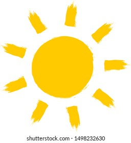 bright orange yellow sun icon or symbol vector illustration