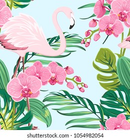 Bright orchid phalaenopsis flowers, exotic pink flamingo bird, tropical rainforest jungle tree palm mostera green leaves. Seamless pattern on light blue background. Vector design illustration.