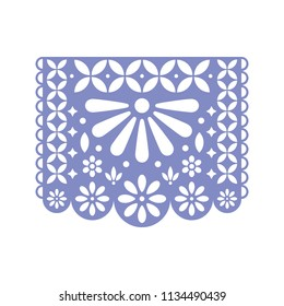 Bright paper with cut out flowers and geometric shapes. Papel Picado vector template design isolated on white. Traditional Mexican paper garland.