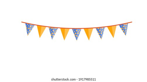 Bright party bunting pennant flags garland design isolated