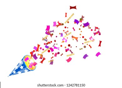 Bright party cracker with kofetti in isometric style on a white background. Exploding slapstick for a holiday, party, congratulations and birthday. Vector illustration of popper
