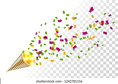 Bright party cracker with kofetti in isometric style on a transparent background. Exploding slapstick for a holiday, party, congratulations and birthday. Vector illustration of popper