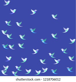 Bright pastel blue abstract colorful seamless pattern of bird theme with mess of blue,, grey white exotic birds a blue background. Vector image in the style of a children's illustration.