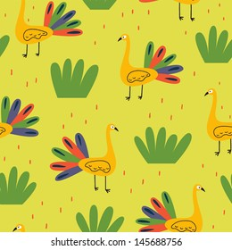 Bright pattern with colorful peacocks. Vector seamless